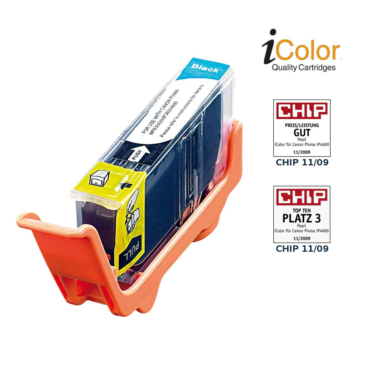 photo-black mit CHIP ersetzt CLI-521BK iColor Patrone für CANON
