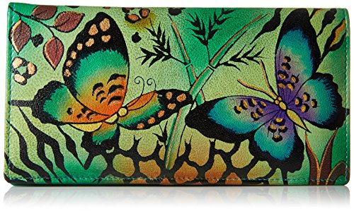 Anna by Anuschka Clutch Wallet | Genuine Leather | Animal Butterfly Grey