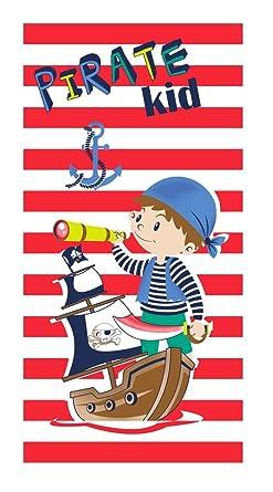 Pirata Kid Toalla de Playa para Niños de 75x150 cm. Tejido Velour Algodón 100%