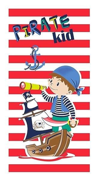 Pirata Kid Toalla de Playa para Niños de 75x150 cm, Tejido Velour ...