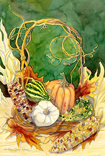 Toland Home Garden Indian Corn Centerpiece 12.5 x 18 Inch Decorative Fall Autumn Harvest Gourd Garden Flag