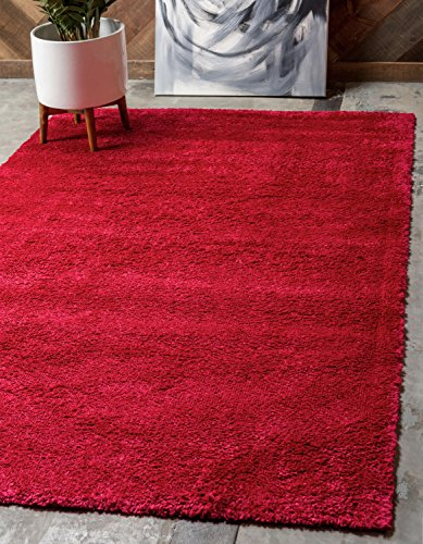 Red Transitional Area Rug - Unique Loom Solid Frieze Collection Plush Transitional Red Home Décor Area Rug (3' x 5')