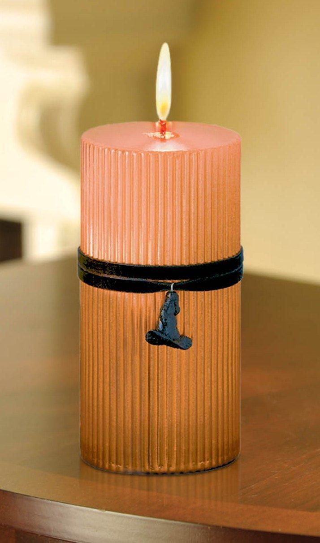 Grasslands Road All Hallows Eve Metallic Orange 6-Inch Pillar with Witch Hat Charm amscan kitchen 449173