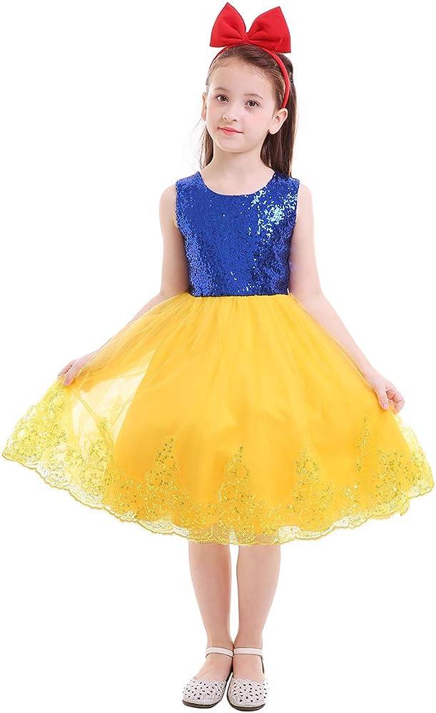 FYMNSI Disfraz de Blancanieves para Niñas Vestido de Princesa ...