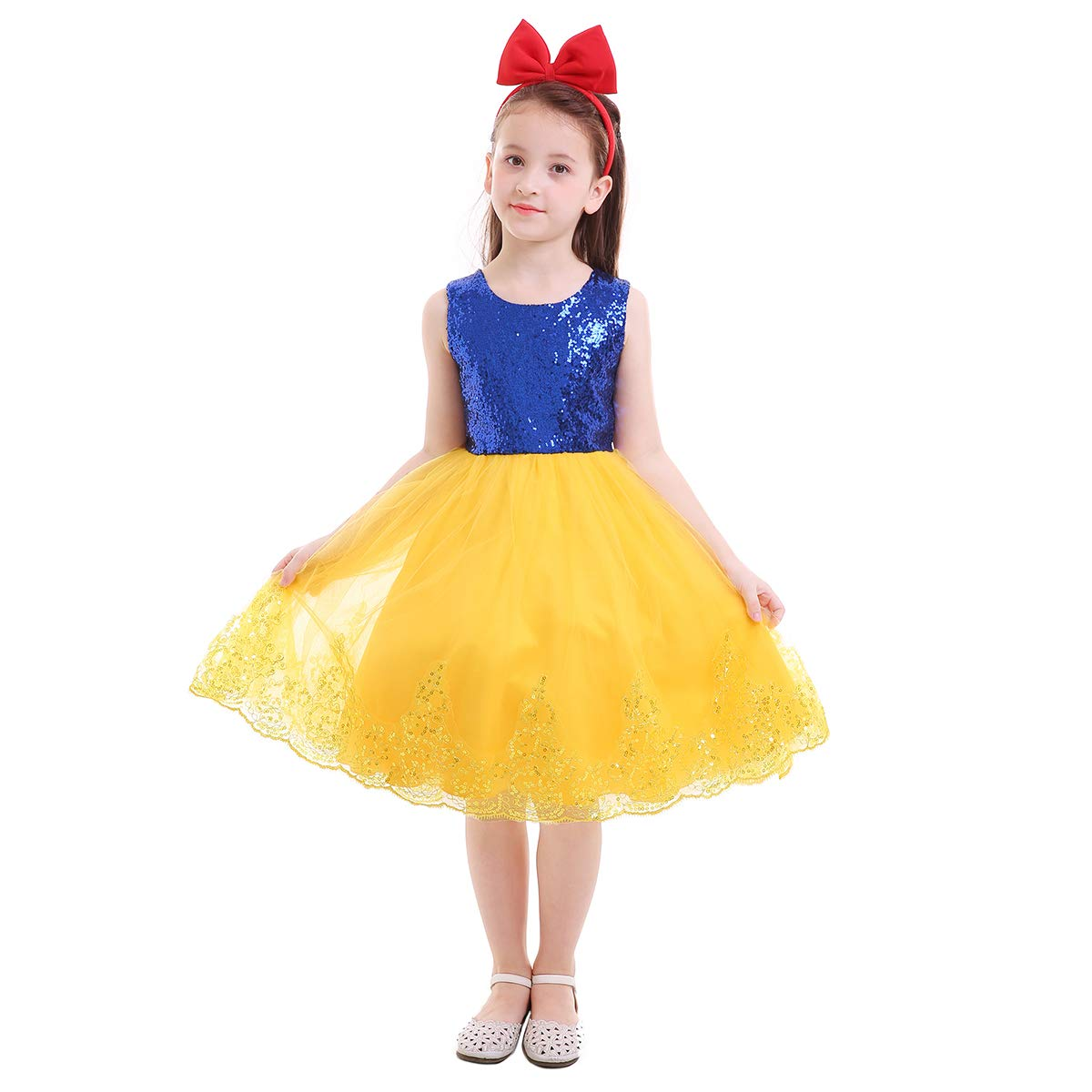 4c1214f0eba1e Amazon.com: IMEKIS Snow White Princess Costume Sequin Halloween ...