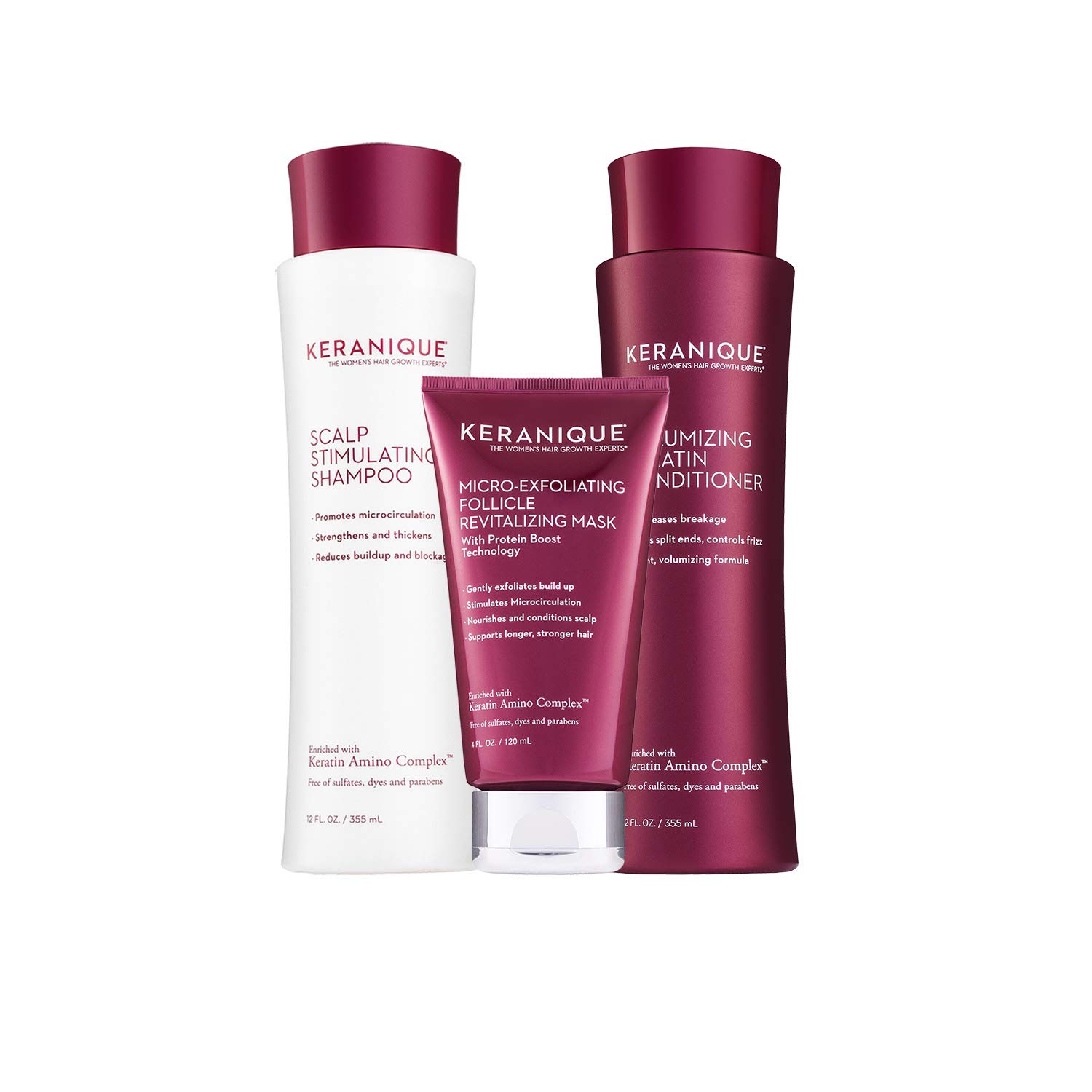 Keranique 60 Day Hair & Scalp Mask Kit | Shampoo, Conditioner and Follicle Revitalizing Mask | Keratin Amino Complex | Free of Sulfates, Dyes, and Parabens | Strengthens and Fortifies Thinning Hair