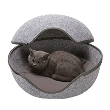 PETUNL Nido de Mascotas Pequeño Gato/Perro Acogedora Cama de Mascotas Cueva escondida con cojín