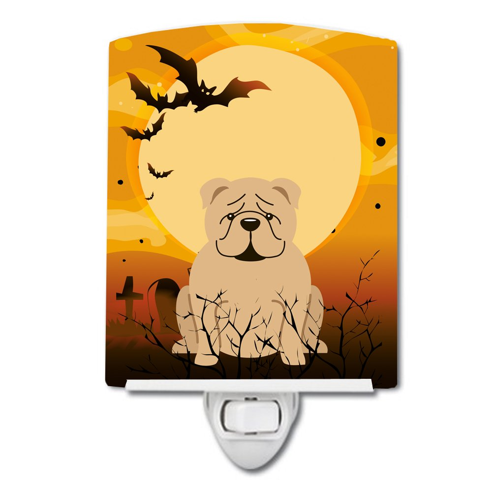 Carolines Treasures Halloween English Bulldog Fawn Ceramic Night Light 6x4 Multicolor