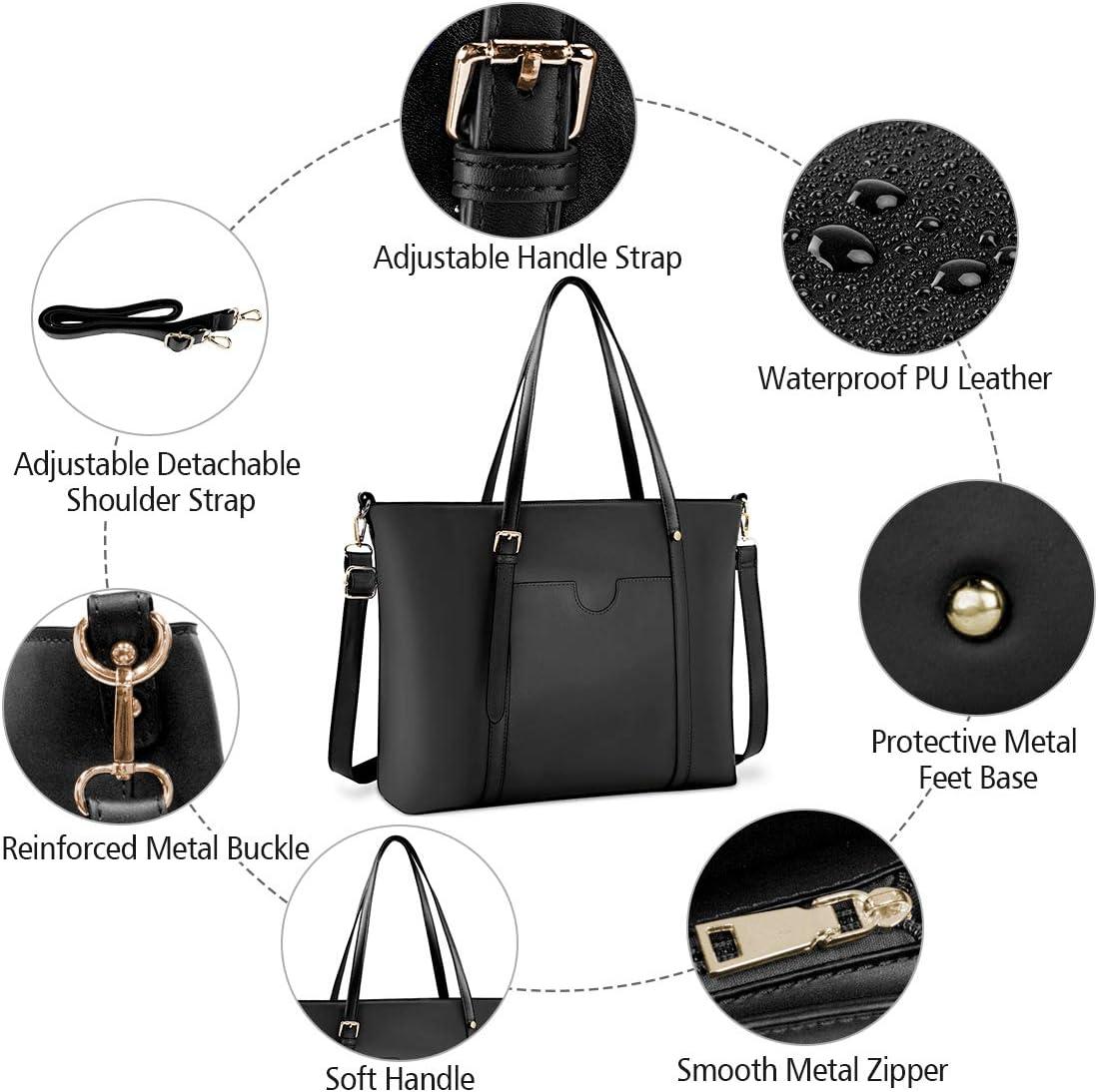 NUBILY Handtasche Shopper Damen Gro/ß 15.6 Zoll PU Leder Shopper Blass lila Laptop Umh/ängetasche Gross Business Aktentasche Frauen Retro Schule Taschen