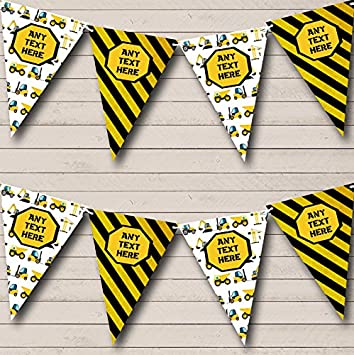 Construction Digger Tractor Blue Children/'s Birthday Party Bunting Banner