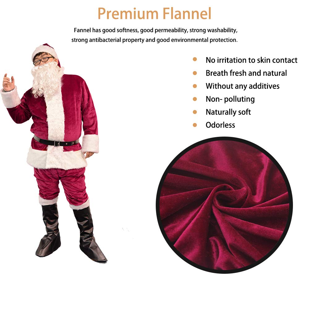 a71729df5ca93 Amazon.com: Bonng Dark Red Men's Deluxe Santa Suit 6pcs Christmas Adult  Santa Claus Costume Holiday Outfit Santa Cosplay: Clothing