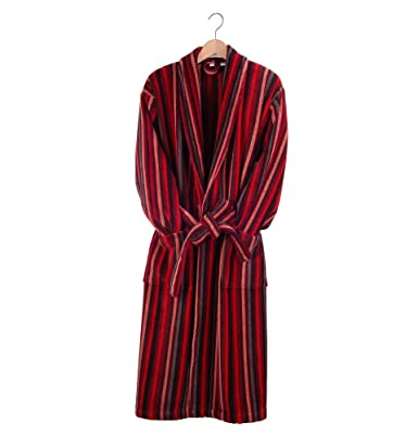 Bown Men\'s Dressing Gown Orleans Stripe Cotton Bath Robe Red - XXL ...