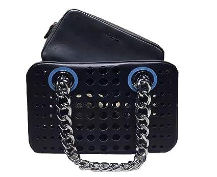 79f4a2654980 Image Unavailable. Image not available for. Color  Prada Women s City Fori  Black Gray Blue Handbag Satchel Shoulder Bag 1BB017