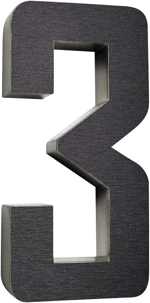 anthrazit NEW Design rostfrei witterungsbest/ändig 20cm Hoch 0 1 2 3 4 5 6 7 8 9 a b c d erh/ältlich 1 Hausnummer 3D Edelstahl V2A diamant 1