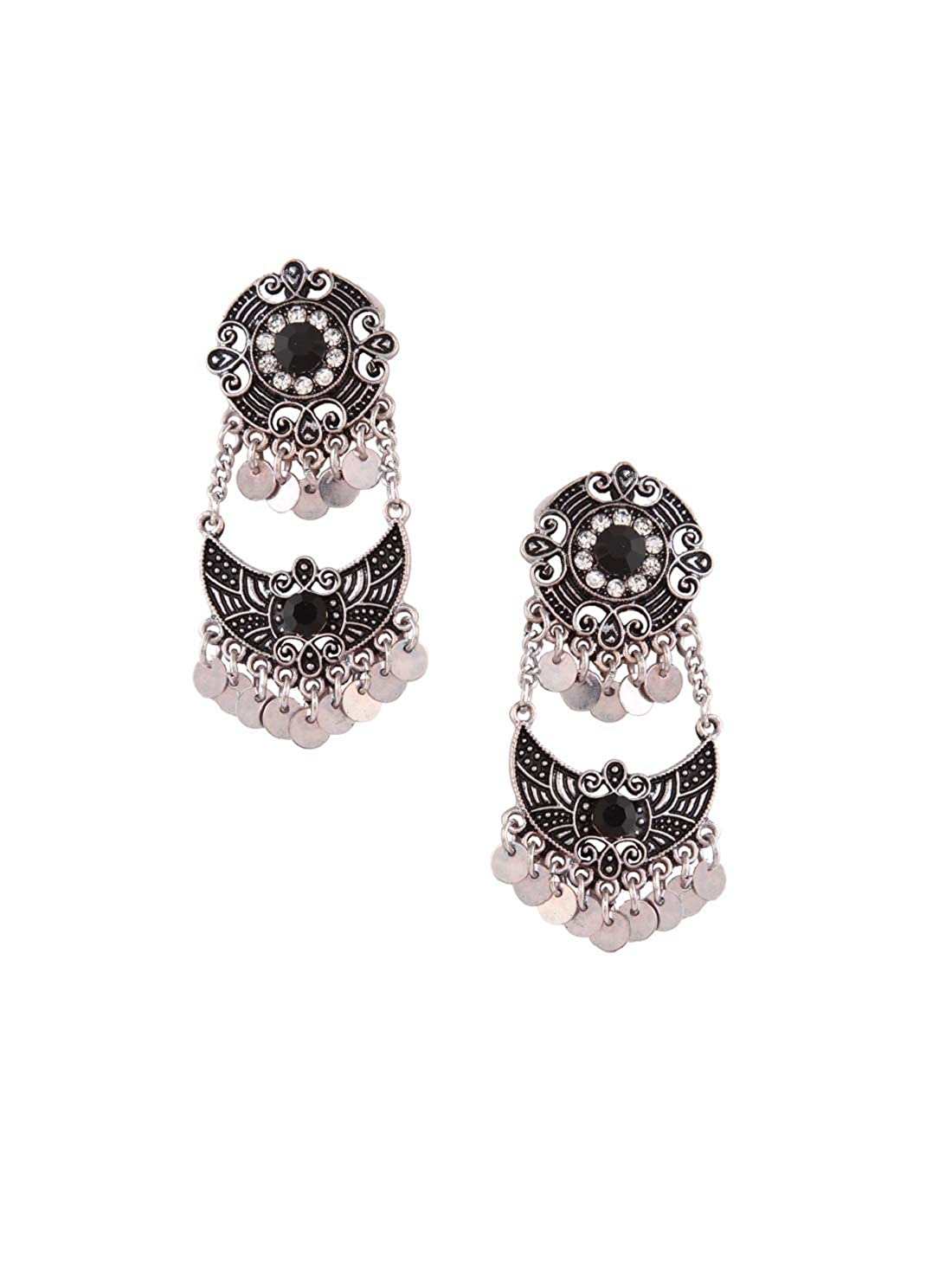 9430b524c Buy Rubans Oxidised Silver Toned Black Colorstone Studded Boho Drop Earrings  Online at Low Prices in India | Amazon Jewellery Store - Amazon.in