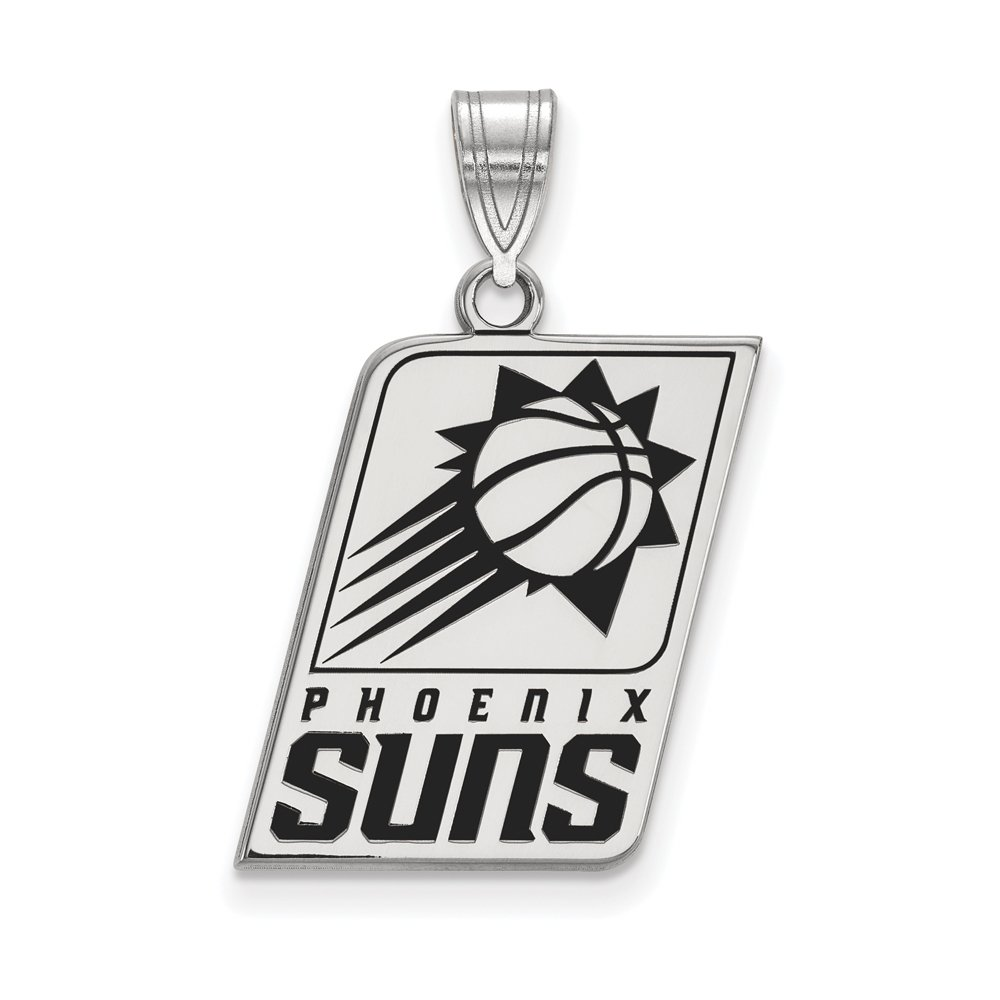 NBA Phoenix Suns Large Logo Pendant in Rhodium Plated Sterling Silver