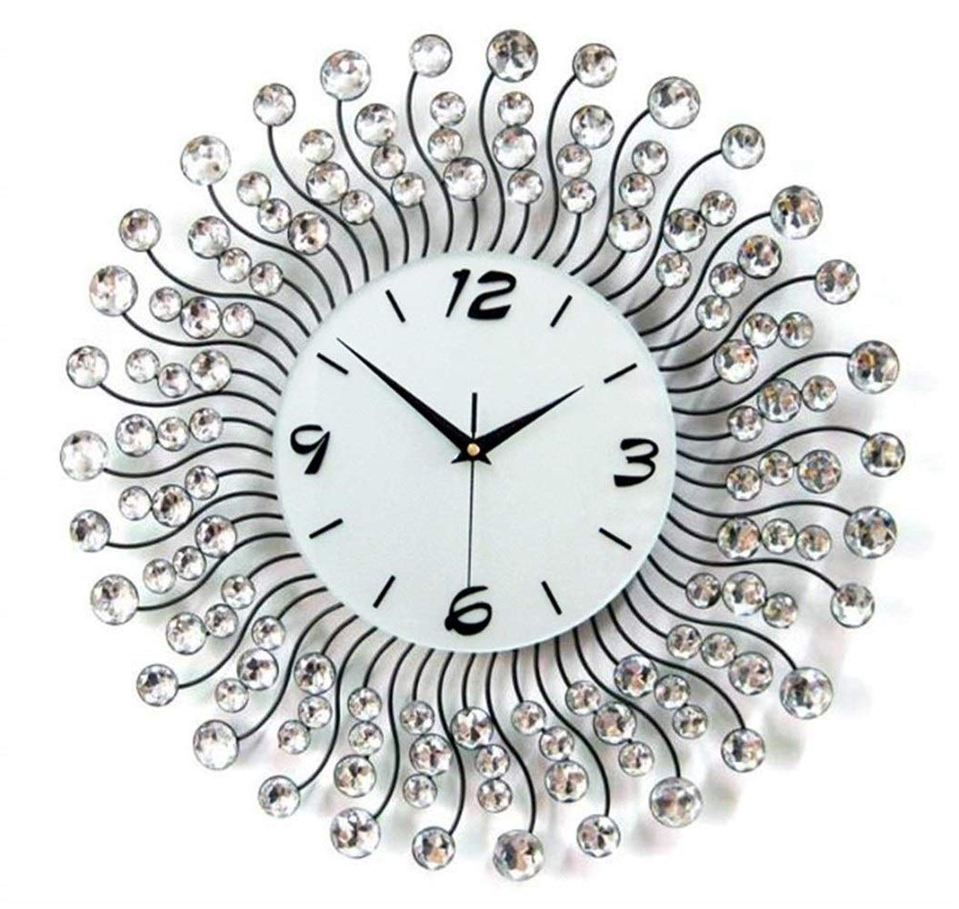 Hxmgzi Wall Clocks Brilliant Home Decoration Big Wall Clocks Iron Frame Rhinestone Wall Clock Modern Home Decor Stopwatch Metal Crafts 36 36 Color : Black