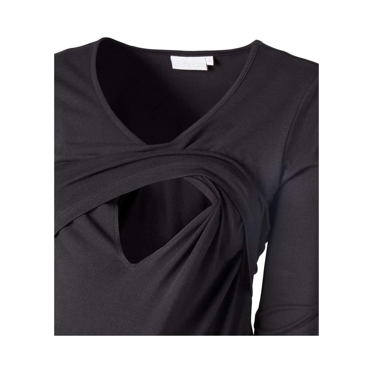 Lange Basic-Oberteile f/ür werdende /& stillende M/ütter 2HEARTS Umstands- und Still-Shirt schwarz//grau meliert 2er-Pack Love is in The Air