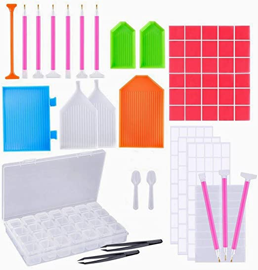 Sprießen 66 Piezas DIY Kits de Pintura de Diamante Accesorios, DIY diamante de pintura herramientas con caja de clasificación de diamante de 28 celdas, Adecuado para todo tipo de pintura de diamante: