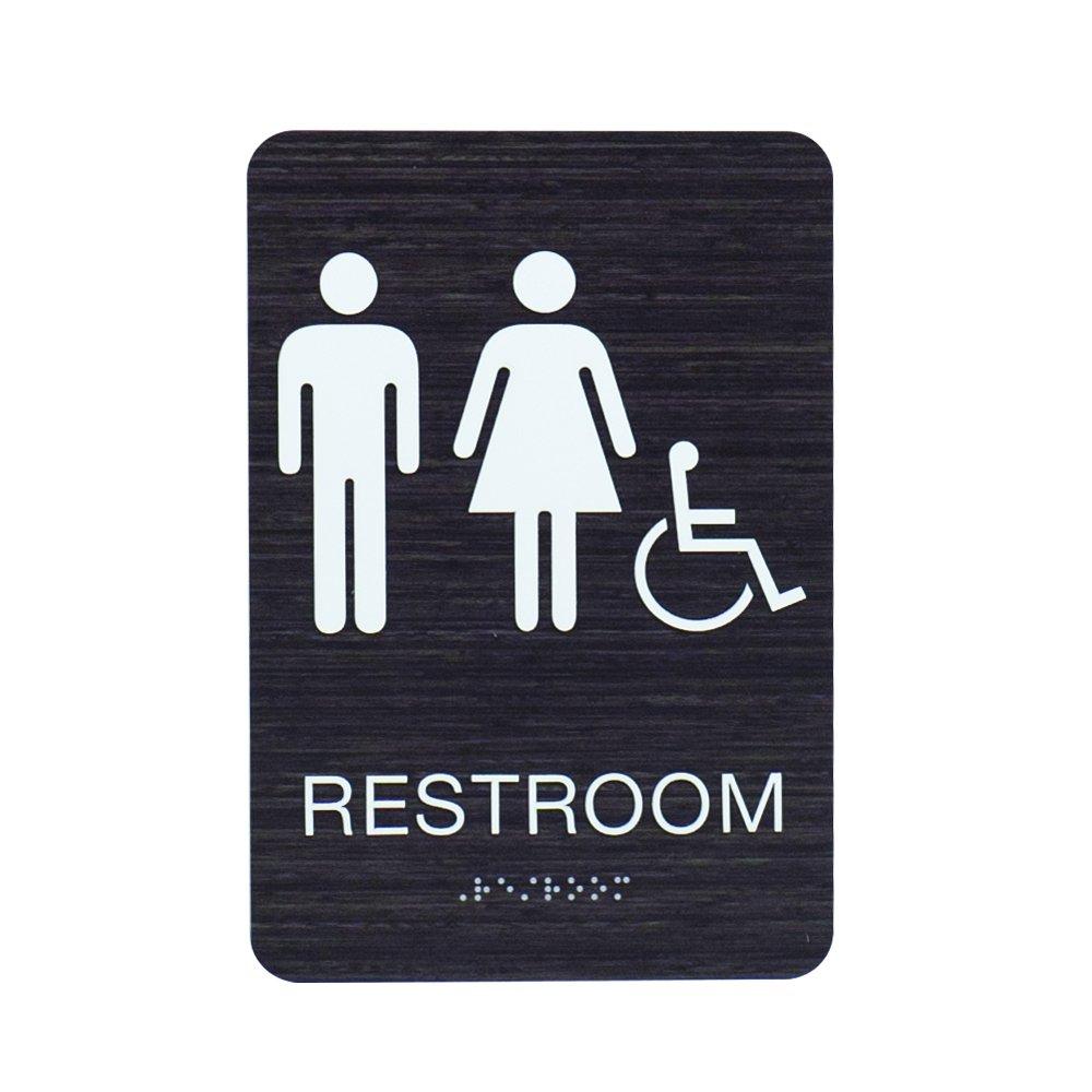 Unisex & Gender Neutral ADA Restroom (Bathroom) Modern Chic Signs w/Braille - Dark Woodgrain by Custom Product Solutions