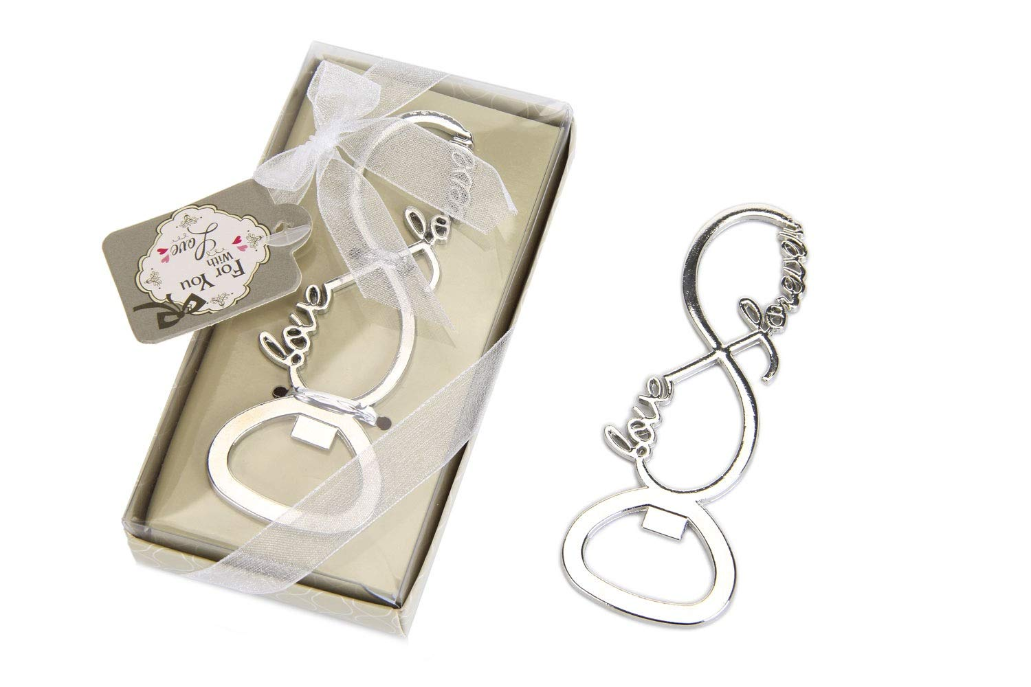 30 pcs Silver Tone Bottle Openers Wedding Favors Decorations, Gift Box, Bow Knot Love Shaped, Party Supplies