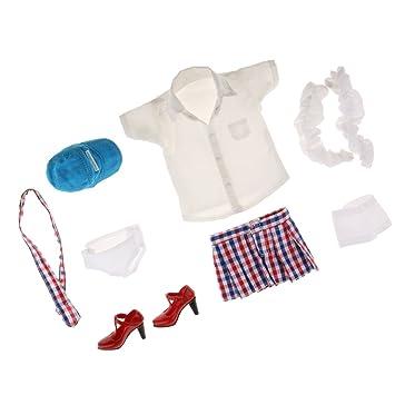 Amazon.es: Gazechimp Escala 1/6 Conjunto de Ropa Camisa Top de Tubo Minifalda Calcetines Calzoncillos Corbata Gorro Zapatos para 12inchs Figura Femenina ...