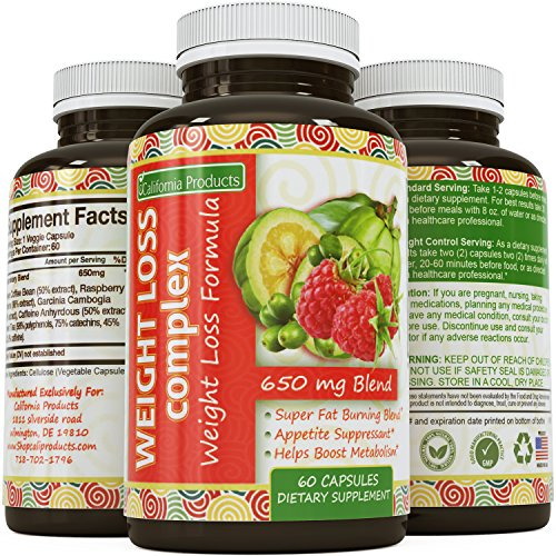 Natural Weight Loss Blend – Garcinia Cambogia + Raspberry Ketones + Green Coffee Bean – Boost Metabolism & Burn Body Fat – Antioxidant Rich – For Women & Men – 60 Capsules – By California Products