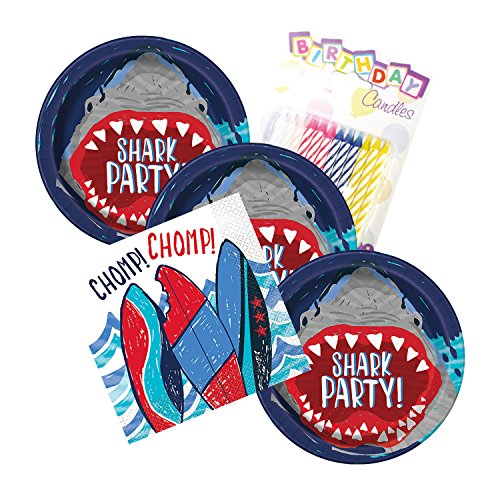 Shark Party Birthday Plates and Napkins Serves 16 With Birthday Candles -