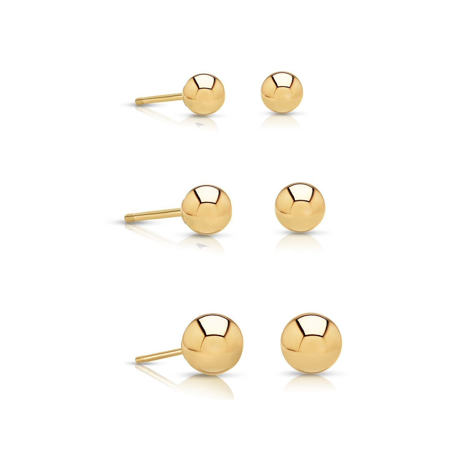 14k Gold Ball Stud 3 Pair Earrings Set (3mm, 4mm, 5mm) (yellow-gold)