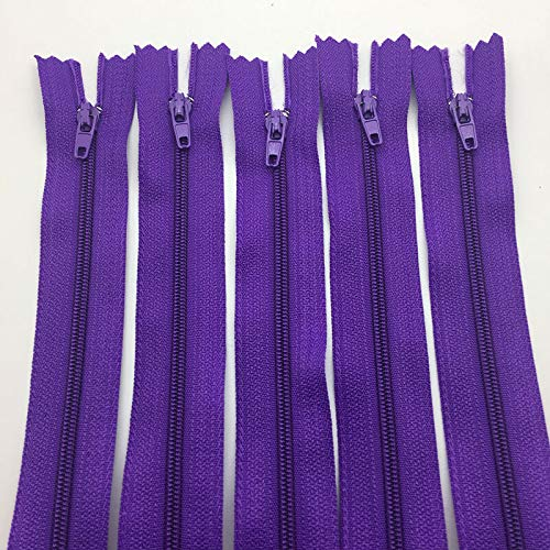 10pcs (20cm 8Inch) Length Multipurpose Nylon Coil Zippers Tailor Sewing Craft (Color - Purple) ()