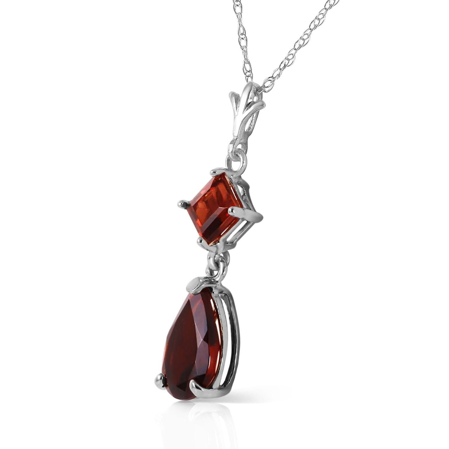 ALARRI 2 CTW 14K Solid White Gold Granted Wishes Garnet Necklace with 22 Inch Chain Length