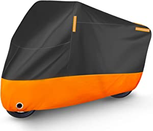 Puroma Motorcycle Cover, XX-Large Waterproof Motorbike Cover Outdoor Indoor Scooter Shelter Protection with 4 Reflective Strips for Harley Davidson, Honda, Suzuki, Kawasaki, Yamaha (Black & Orange)