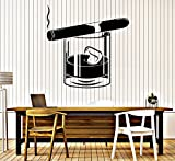 Large Vinyl Wall Decal Whiskey Glass Cigar Alcohol Bar Men's Style Stickers (ig4334)