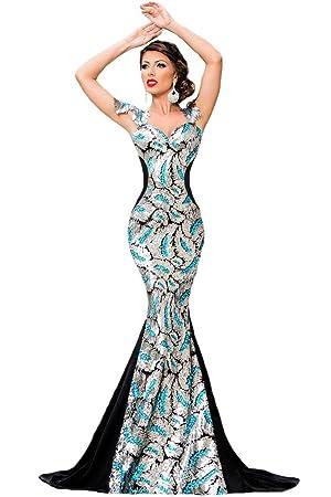 Nuevo Azul Plateado y negro sirena de lentejuelas vestido de cóctel vestido largo de noche fiesta