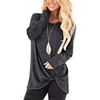Xpenyo Women's Long Sleeve Tops Twisted Sweatshirt Loose T Shirt Blouses Tunic Tops