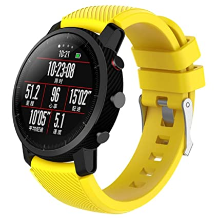 YRD Tech 22MM Sports Watch Band Strap for Huami Amazfit Smart Watch Stratos 2 Sports Smartwatch (2 Design S 190MM/L 210MM) (Yellow S, 190MM)