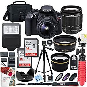 Canon T6 EOS Rebel DSLR Camera with EF-S 18-55mm f/3.5-5.6 IS II Lens and Two (2) 16GB SDHC Memory Cards Plus Triple Battery Tripod Cleaning Kit Accessory Bundle