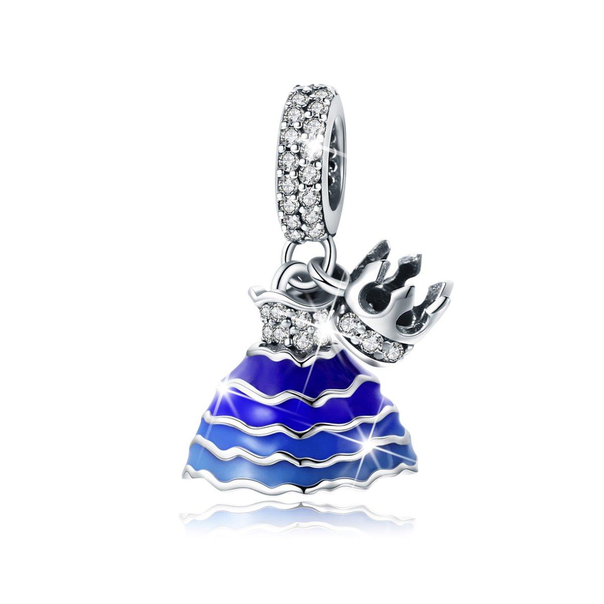 BAMOER 925 Sterling Silver Dream of Princess Love CZ Bead Charm for DIY Snake Chain Bracelet