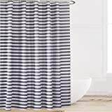 Eforcurtain Extra Long Striped Mildew-Free Water-Repellent Fabric Shower Curtain,Grey/gray White (72-inch by 78-inch)