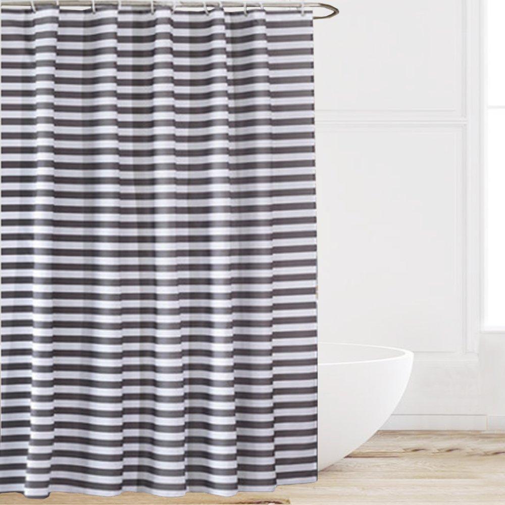 di colore grigio e bianco Tenda per doccia a righe Eforcurtain in tessuto idrorepellente e anti muffa 60x72 Grey Poliestere