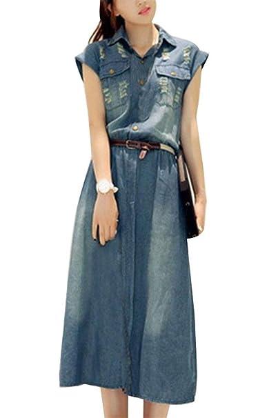 Vestido Vaquero Mujer Elegante Largos Vestidos De Verano Manga Corta De Solapa Un Solo Pecho Túnica Casual Fashion Anchas Talla Grande Vestidos Camiseros ...