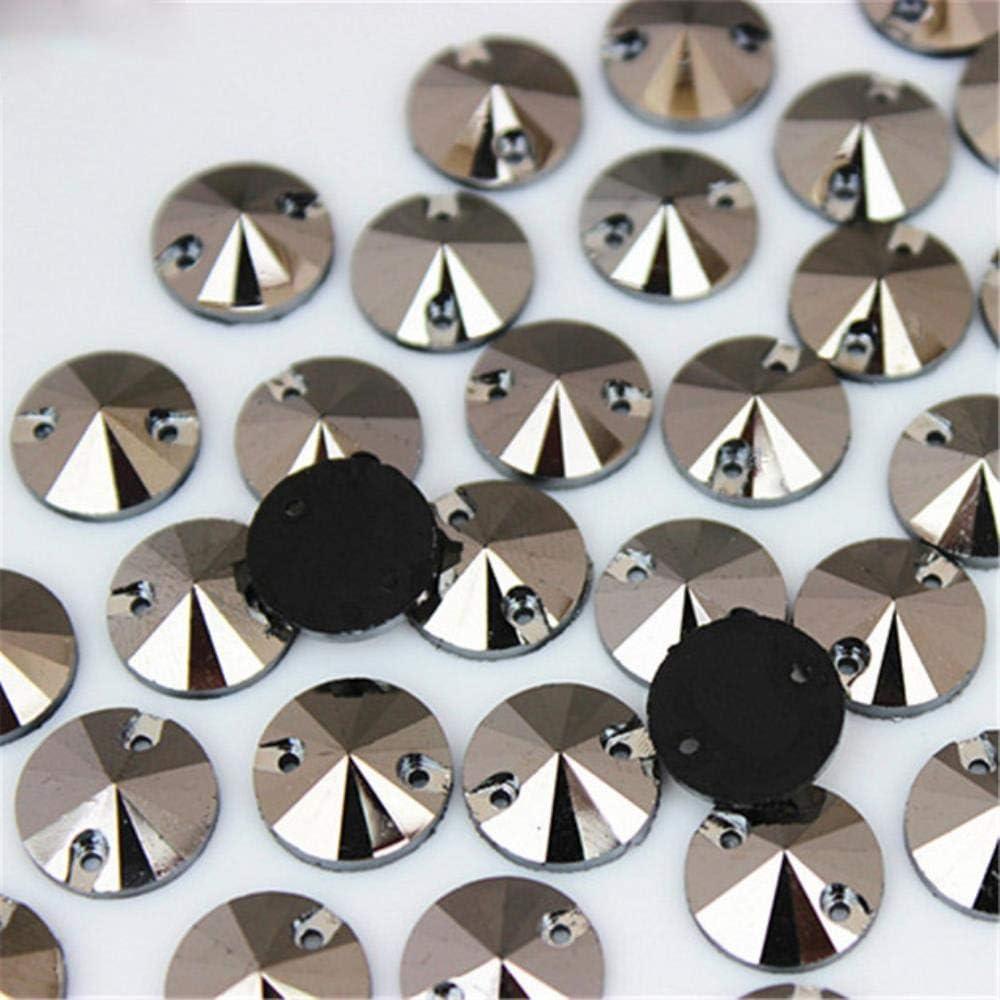PENVEAT 100 Piezas 12 mm AB Color Redondo Coser en Resina Diamantes de imitación Piedras de Cristal Cosido de Espalda Plana para Bolsas de Ropa DIY decoración MC763, Plata Antigua