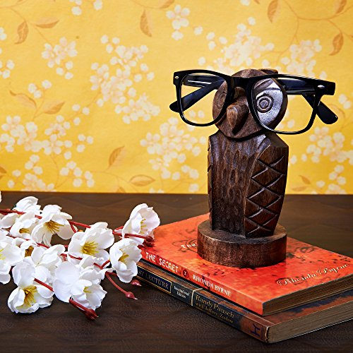 Wooden Owl Eyeglass Spectacle Holder Handmade Stand for Office - With Owl Glasses