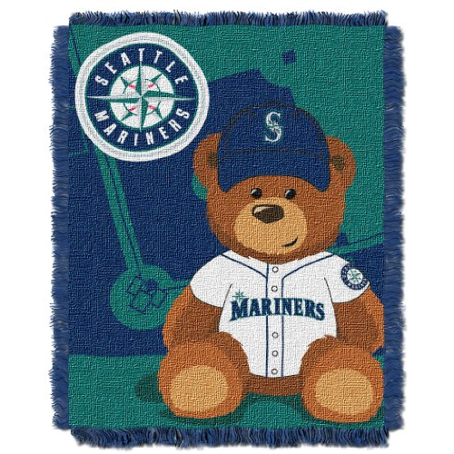 The Northwest Company MLB Seattle Mariners Field Bear Woven Jacquard Baby Throw, 36