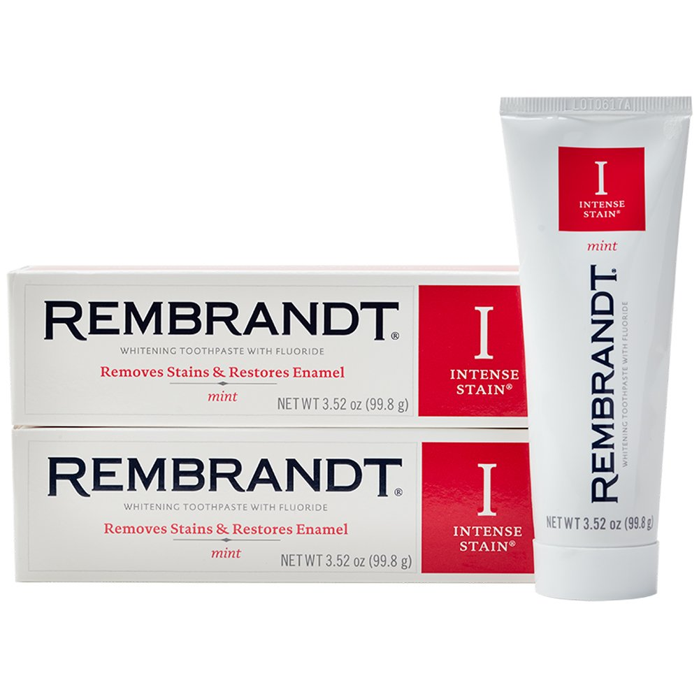 Rembrandt Intense Stain Whitening Toothpaste 3.52 oz, 2 Pack, Mint Flavor