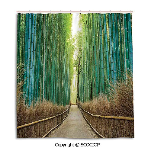 SCOCICI Creative Bathroom Curtain Separation Door Curtain Bath Curtain,66X72in,Bamboo Forest in Japan,Panoramic View of Historic Landscape Park Decorative,Used for Bathing Privacy