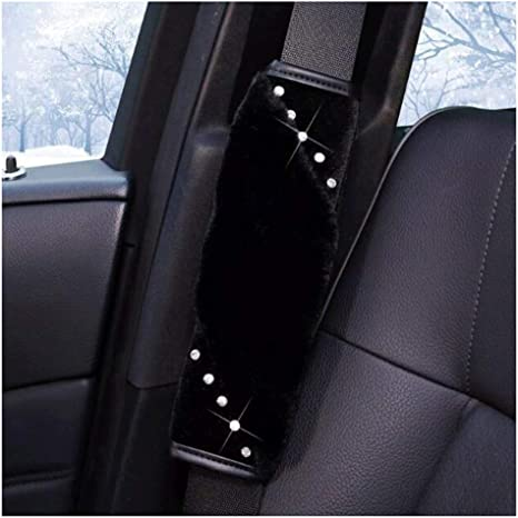 Black Siyibb 2 Pcs Bling Rhinestones Car Seat Belt Cover Shoulder Pads
