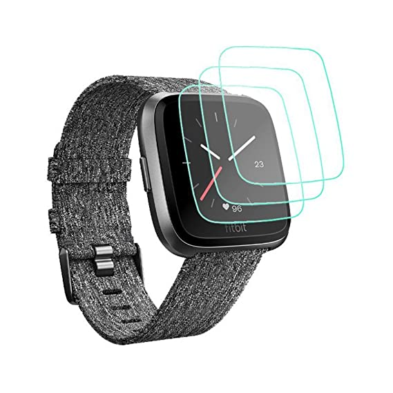 for Fitbit Versa Screen Protector [3-Pack], Tempered Glass Screen Protector for Fitbit Versa SmartWatch [Crystal Clear] [No-Bubble] [Anti-Scratch] …