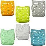 Paquete de 6 pañales de tela lavables y ajustables, de Alva Baby, con 12 inserciones, de bolsillo morado set 6BM98 Talla:All in one