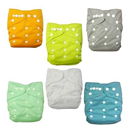 Alva bebé-6 piezas paquete bolsillos dotar paño-pañal de tela con lavable ajustable